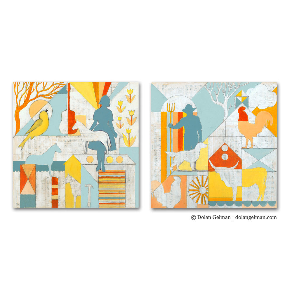 Country Morning Geometric Farm Diptych