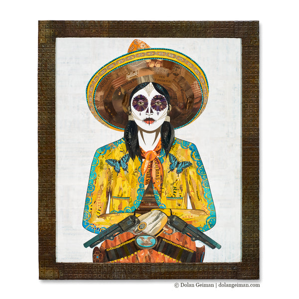 Sugar Skull Cowgirl with Butterfly Jacket Original Paper Collage