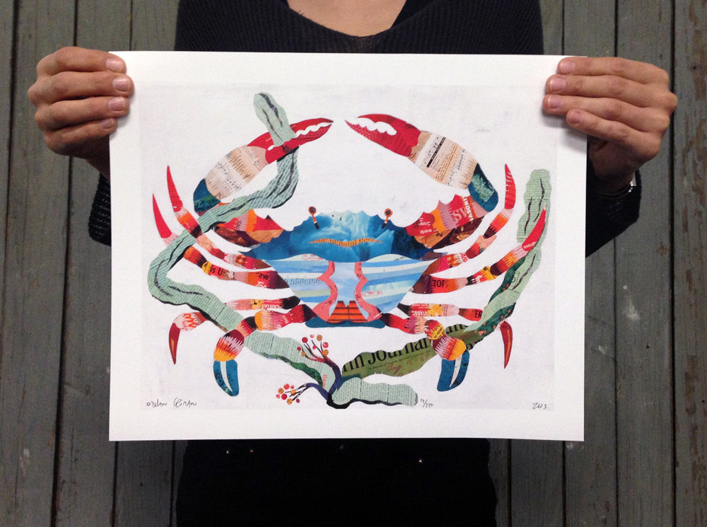 Crab Art Print for Beach House