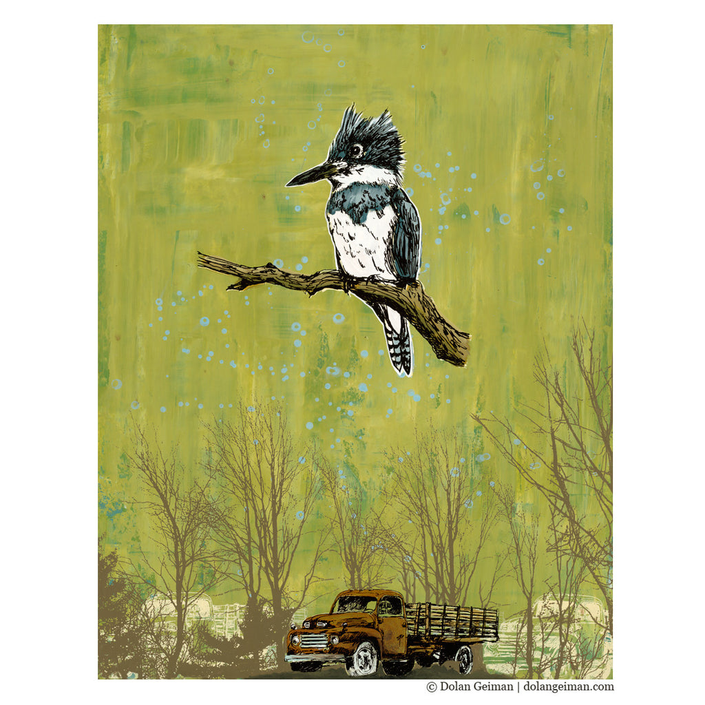 Creek in the Woods Kingfisher Bird Art Painting