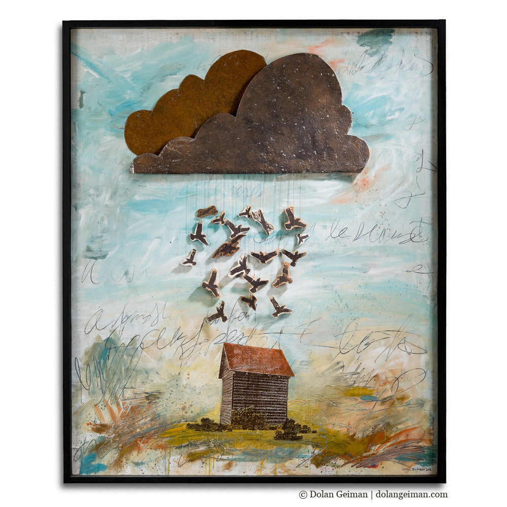 Crow Rain Tobacco Barn Mixed Media Wall Art