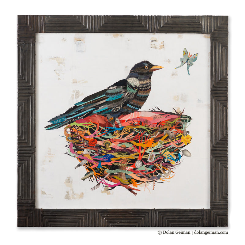 main image for Crow in Nest with Moth Paper Collage Art