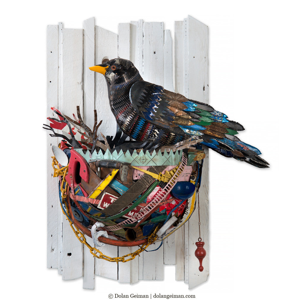 Crow in Nest 3D Wall Sculpture