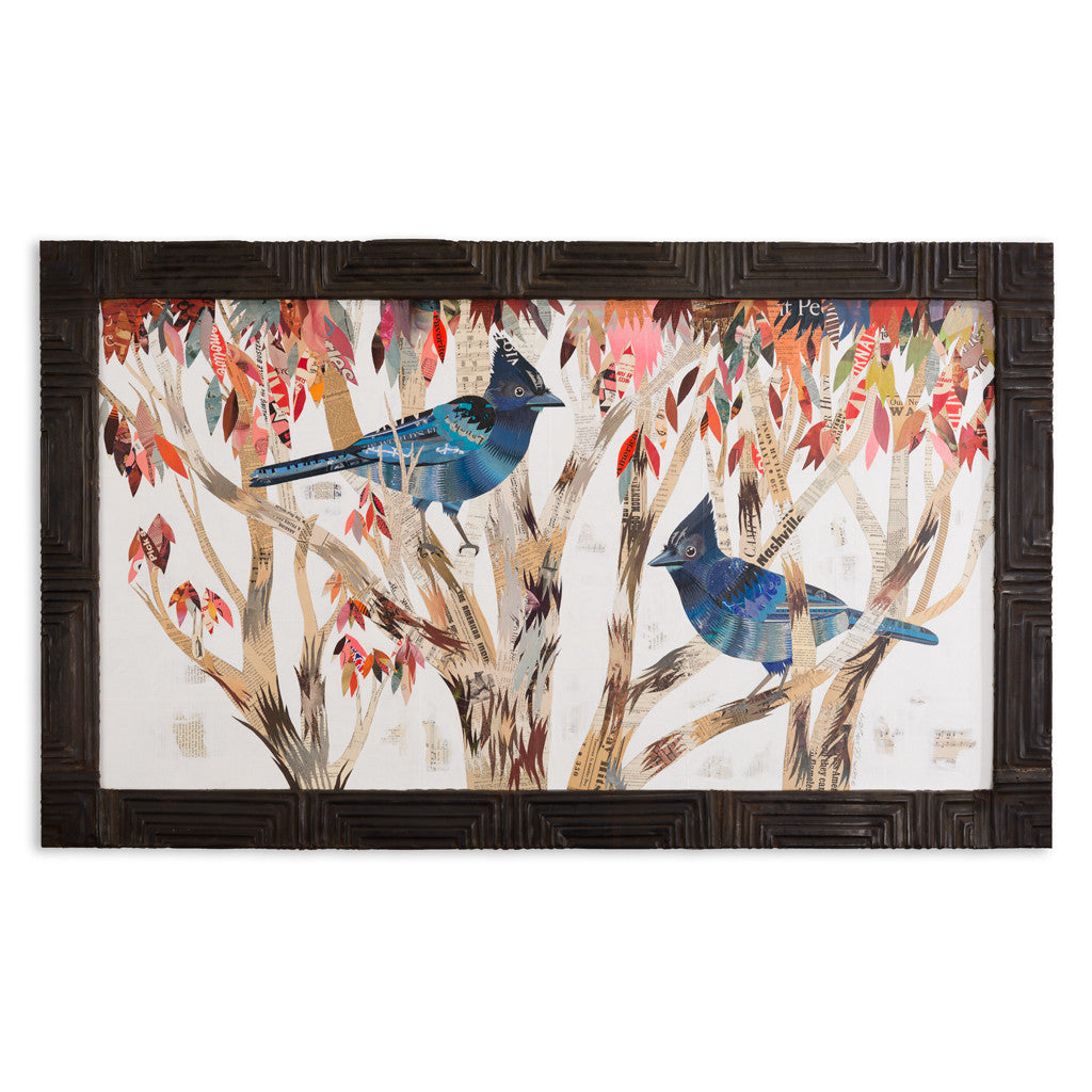 Steller's Jay in Eucalyptus Trees Paper Collage Art