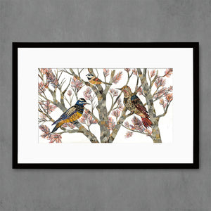 thumbnail for Northern Flicker and Chickadee Birds in Tree Art Print