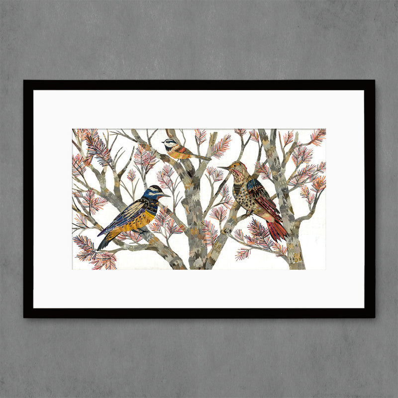 main image for Northern Flicker and Chickadee Birds in Tree Art Print