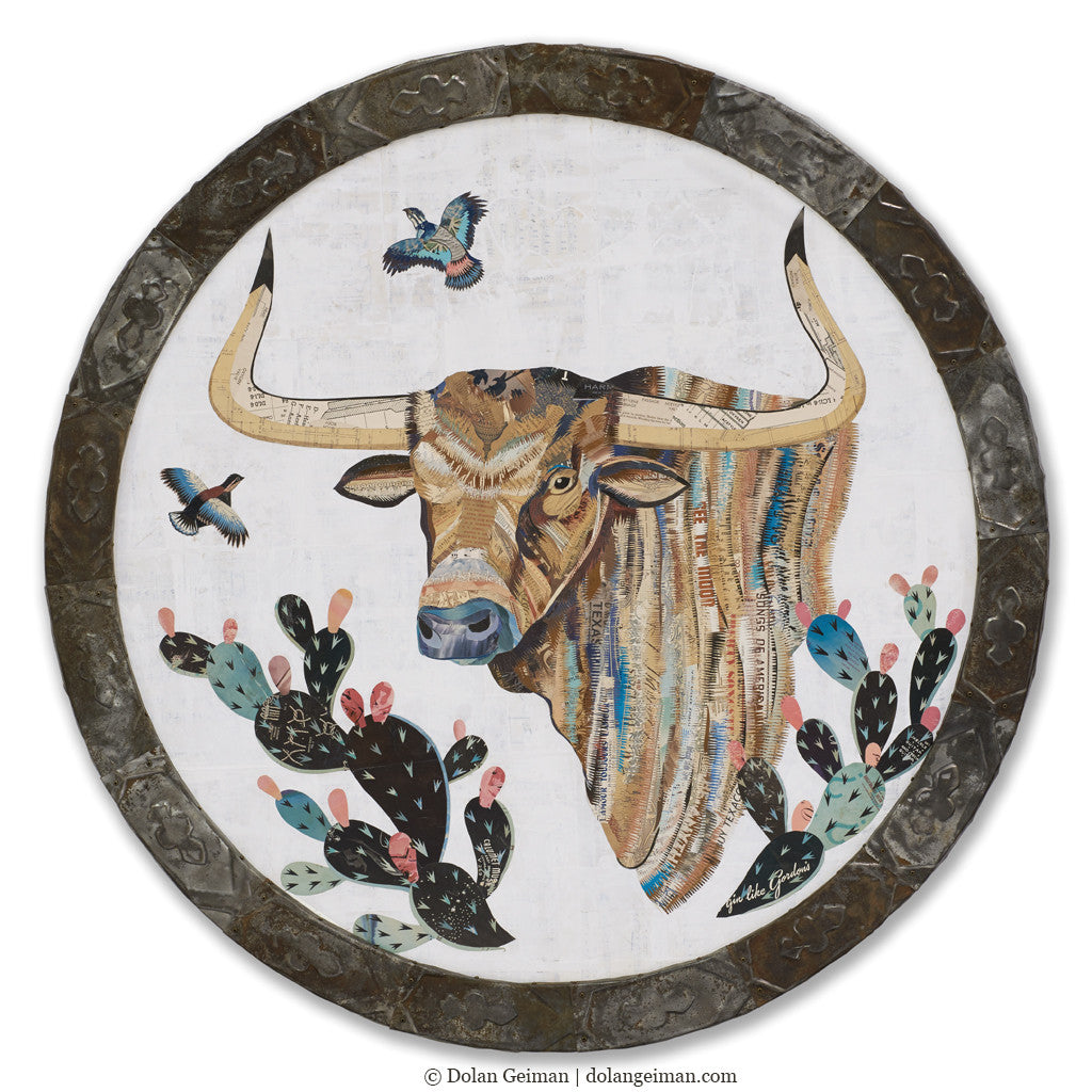 Circular Longhorn with Cactus Collage