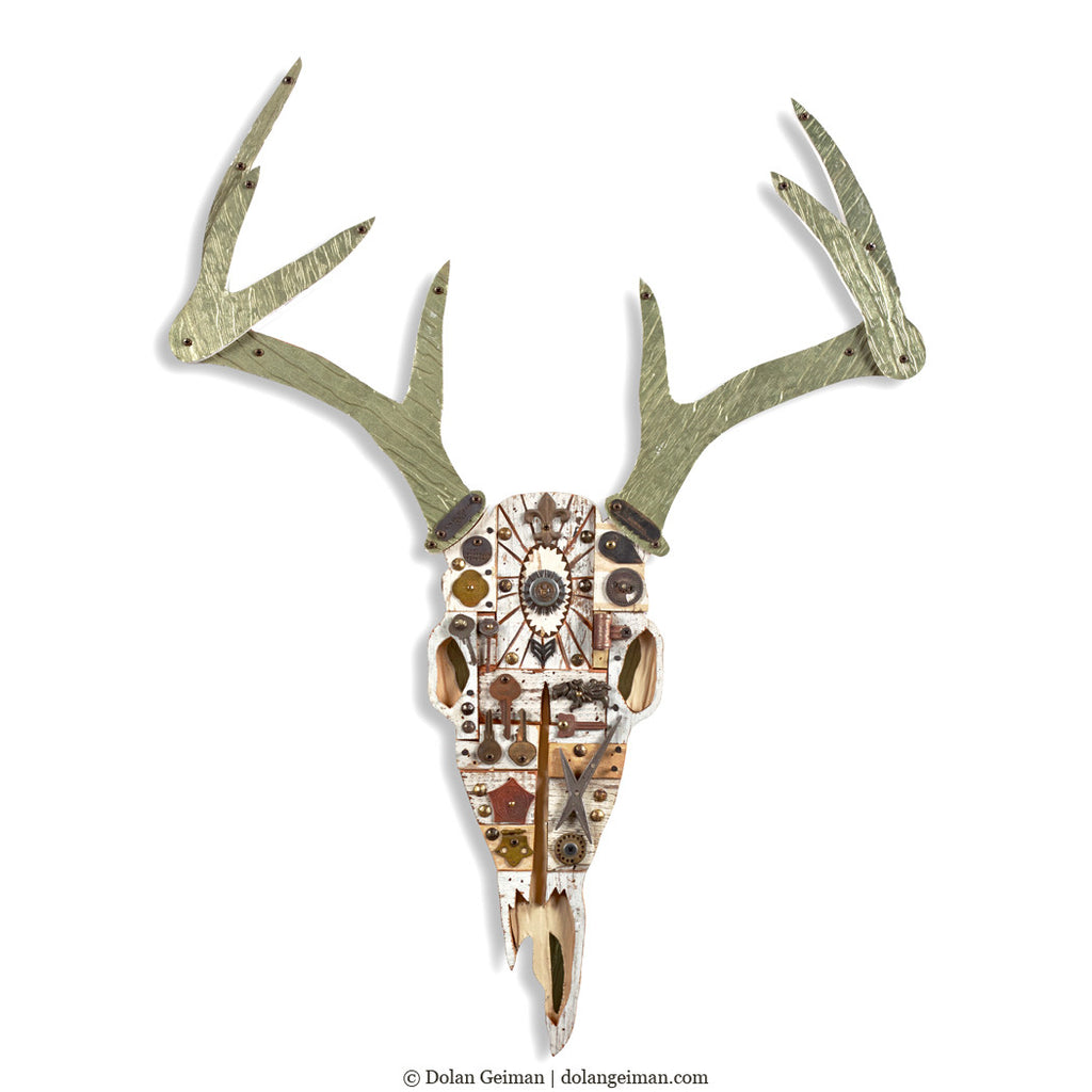 Deer Skull in White, Mixed Media Assemblage