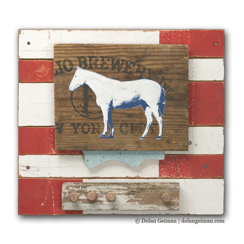 Derby Horse Mixed Media Art Assemblage