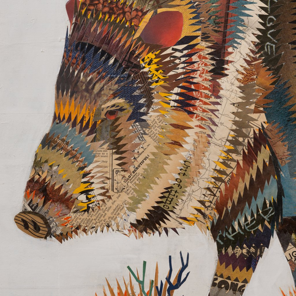 Desert Morning Cactus and Javelina Paper Collage Art
