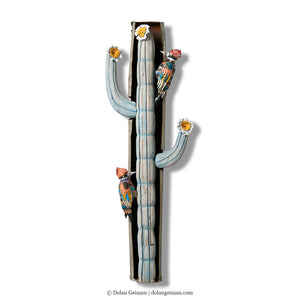 thumbnail for Cactus and Woodpecker Wall Sculpture