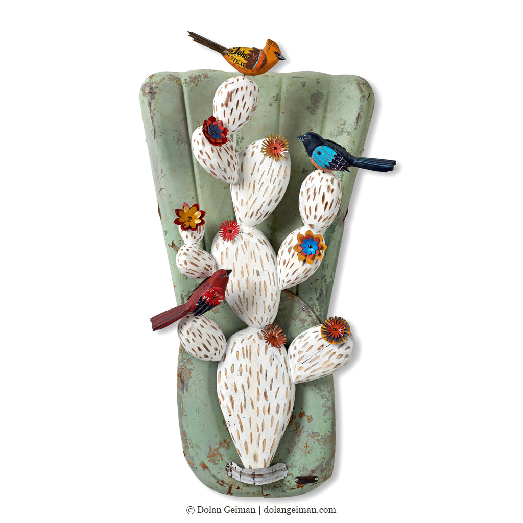 Cactus and Songbird Wall Sculpture