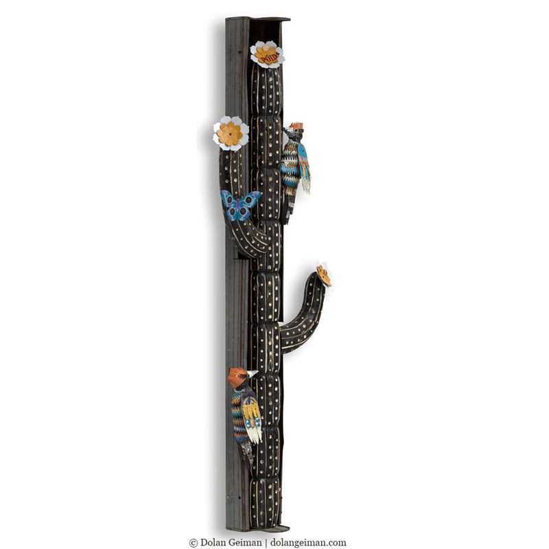 main image for Desert Totem Cactus and Woodpecker Wall Sculpture