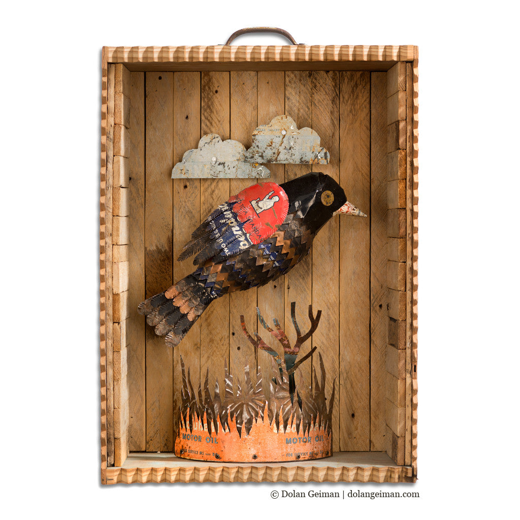Redwing Faux Taxidermy Blackbird Bird Diorama in Wood Box