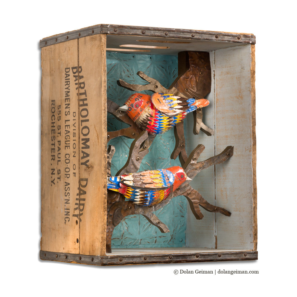 Warblers Songbirds in Wood Crate Diorama