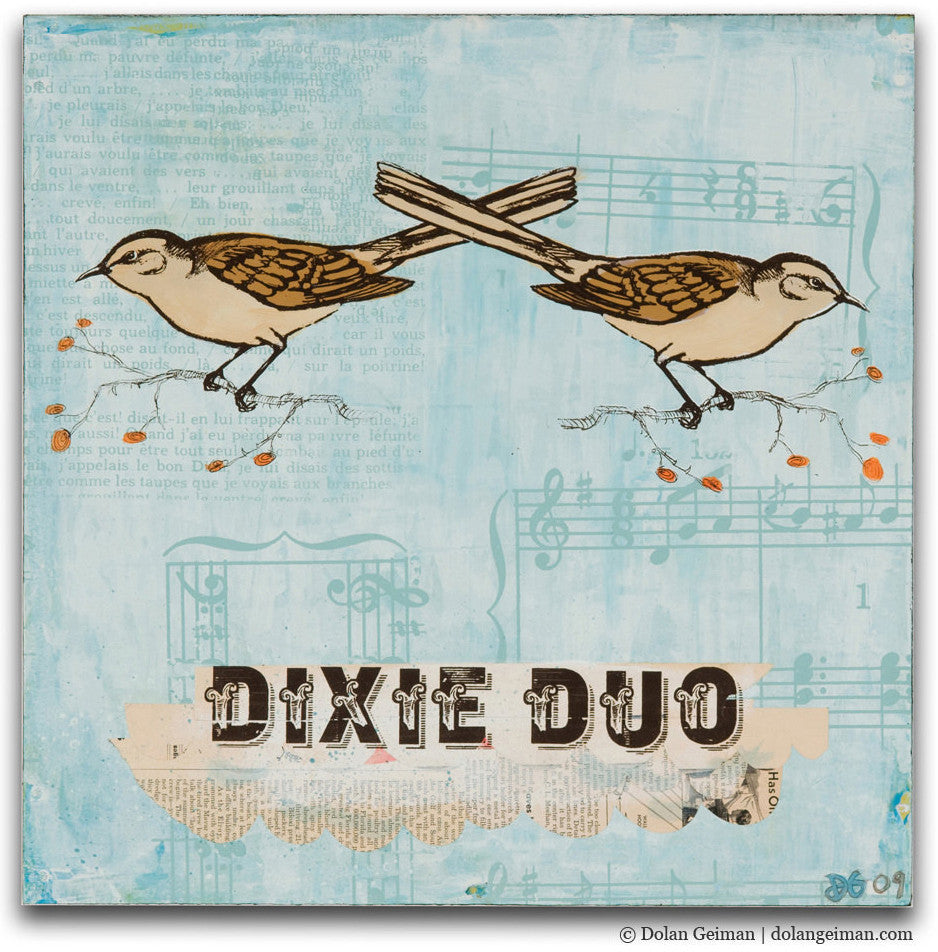 Dixie Duo Mixed Media Bird Art