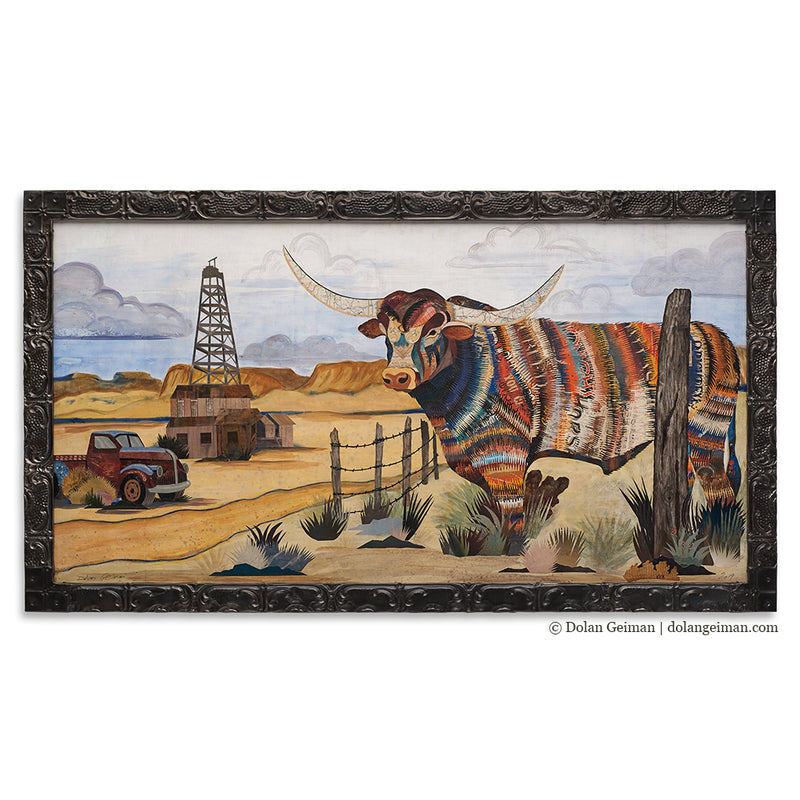 main image for Across the Golden Mesa Longhorn Oil Derrick Original Paper Collage