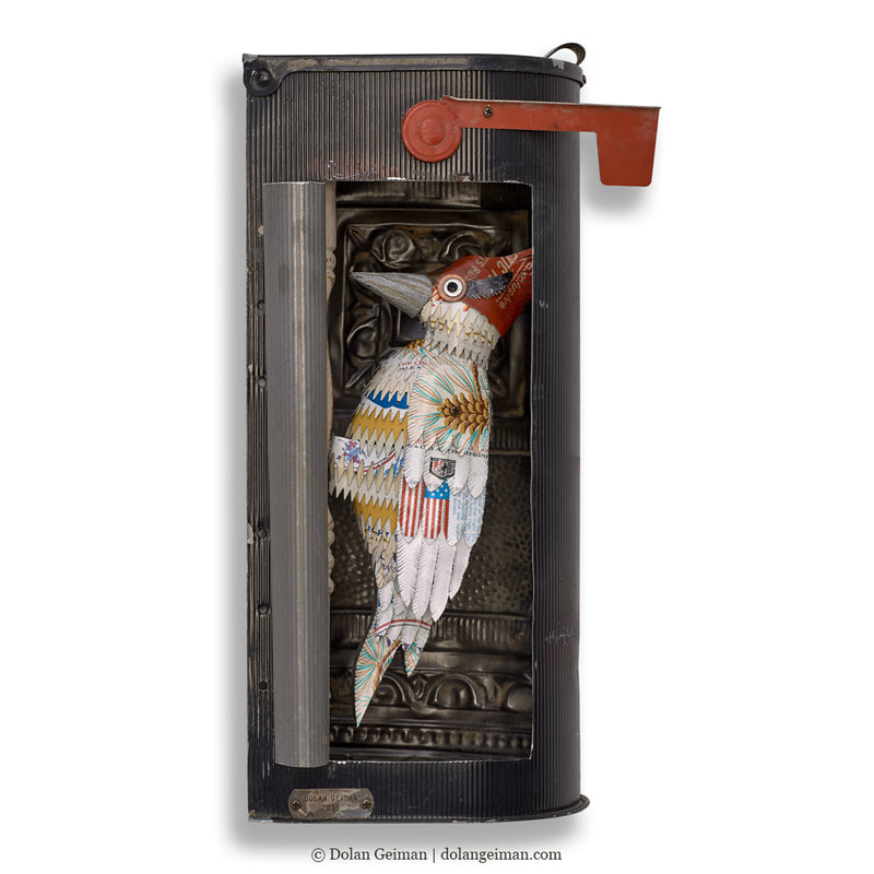 main image for Metal Woodpecker in Mailbox Wall Sculpture