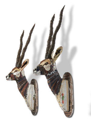 thumbnail for Black Buck Faux Taxidermy Metal Wall Sculptures