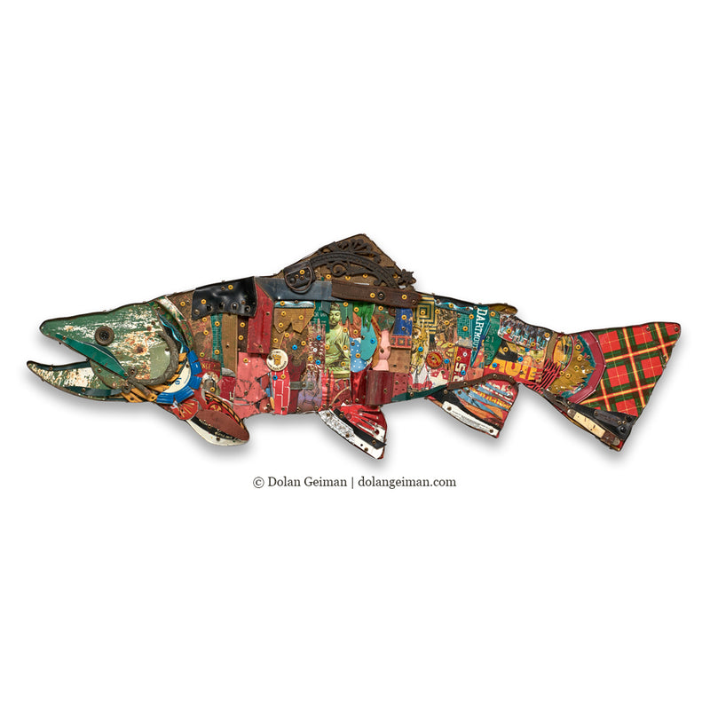main image for Brook Trout Mixed Media Wall Sculpture Art
