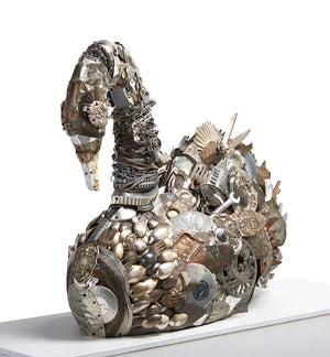 thumbnail for Silver Swan Mixed Media Sculpture
