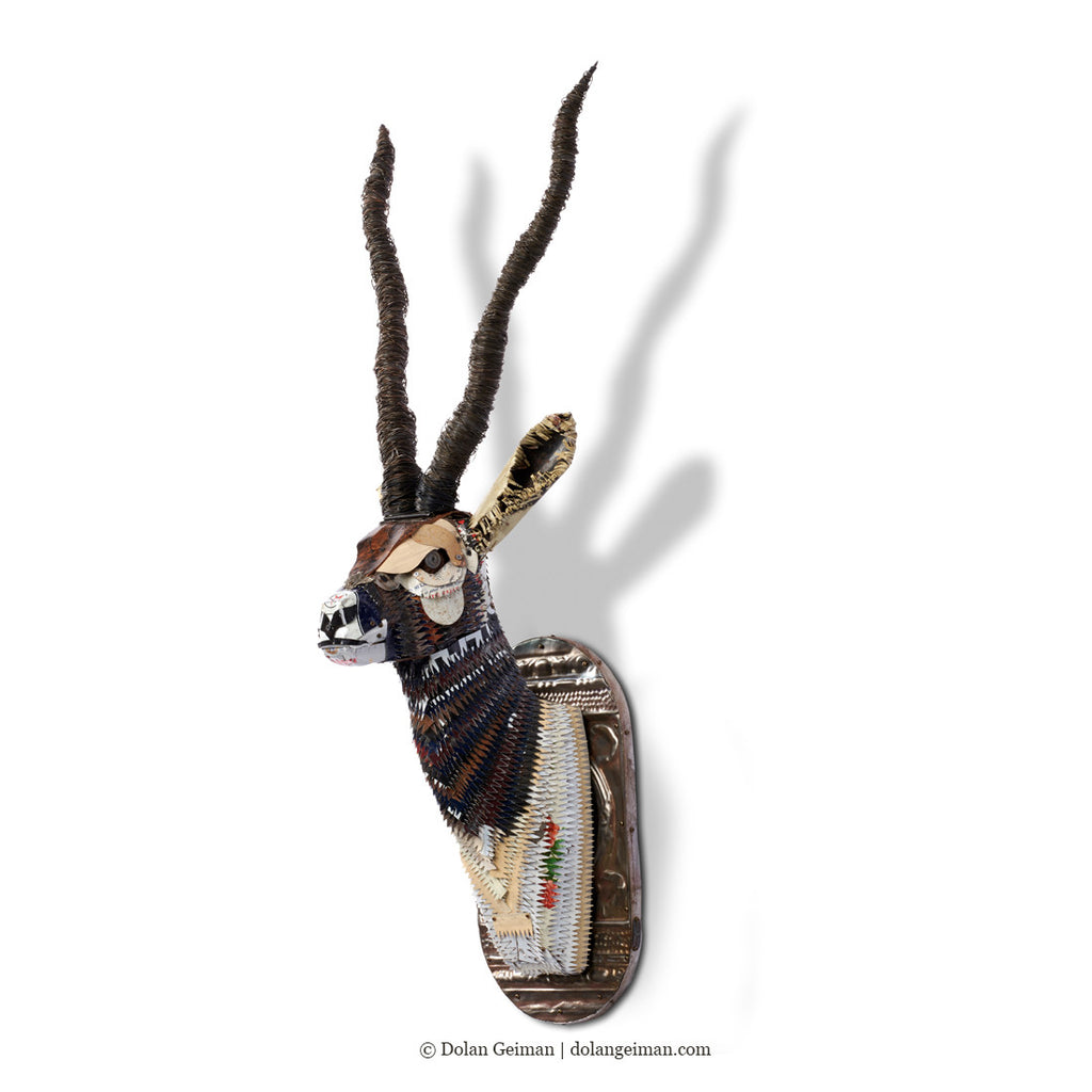Black Buck Faux Taxidermy Metal Wall Sculptures