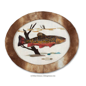 thumbnail for Small Oval-Shaped Original Brook Trout Collage