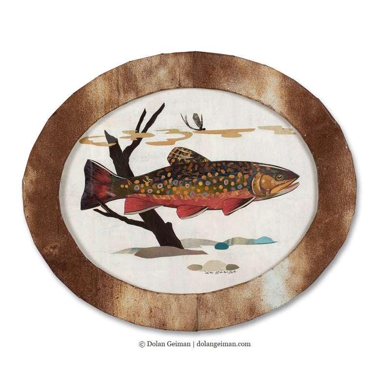 main image for Small Oval-Shaped Original Brook Trout Collage