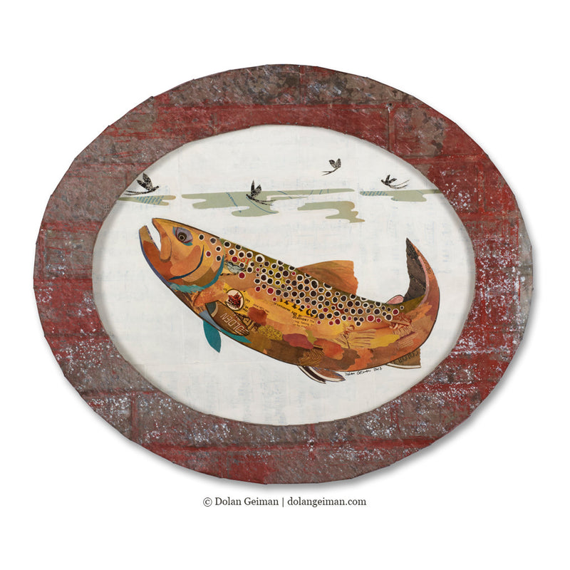 main image for Small Oval-Shaped Original Brown Trout Collage