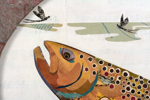 thumbnail for Small Oval-Shaped Original Brown Trout Collage