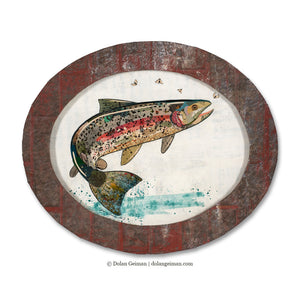 thumbnail for Small Oval-Shaped Original Rainbow Trout Collage