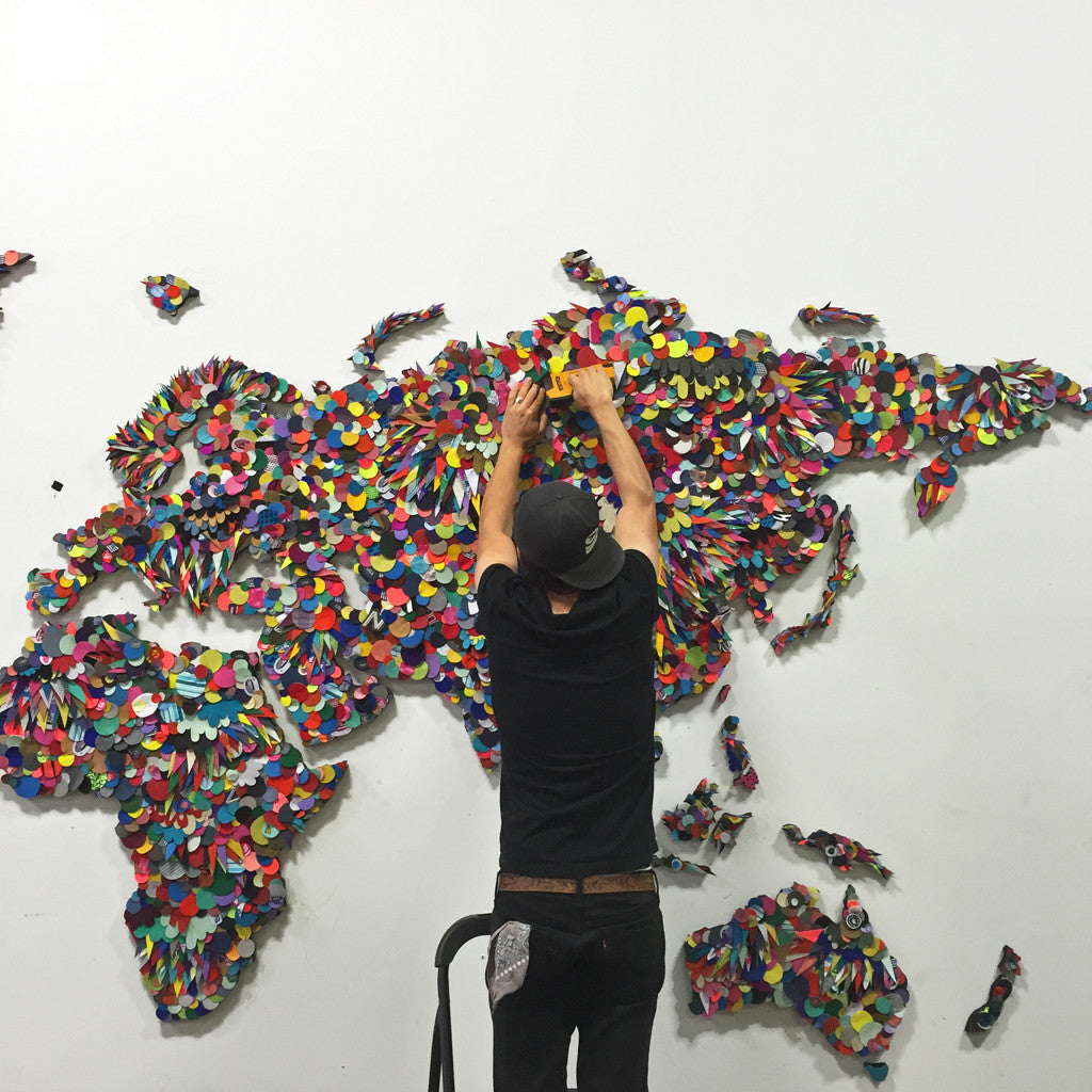 Upcycled Recycled World Map for New Balance Headquarters
