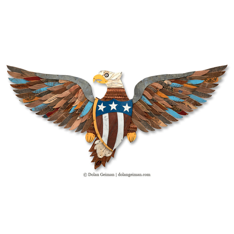 main image for Large Scale Iconic Eagle Original Mixed Media Wall Sculpture