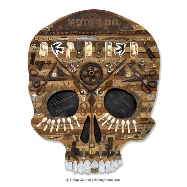 Large Skull Mixed Media Assemblage