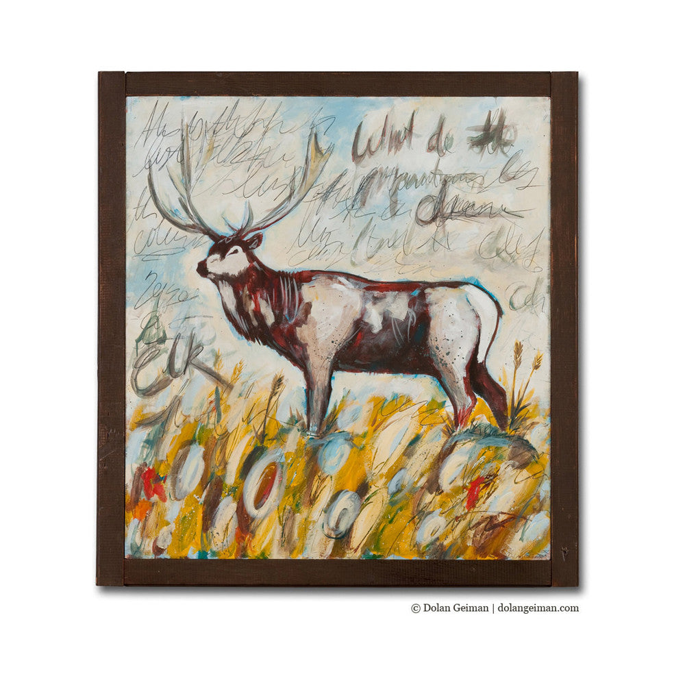 Elk Mountain Large Watercolor Style Painting