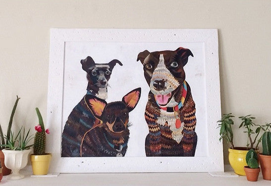 Custom Dog Pet Portrait, Original Paper Collage