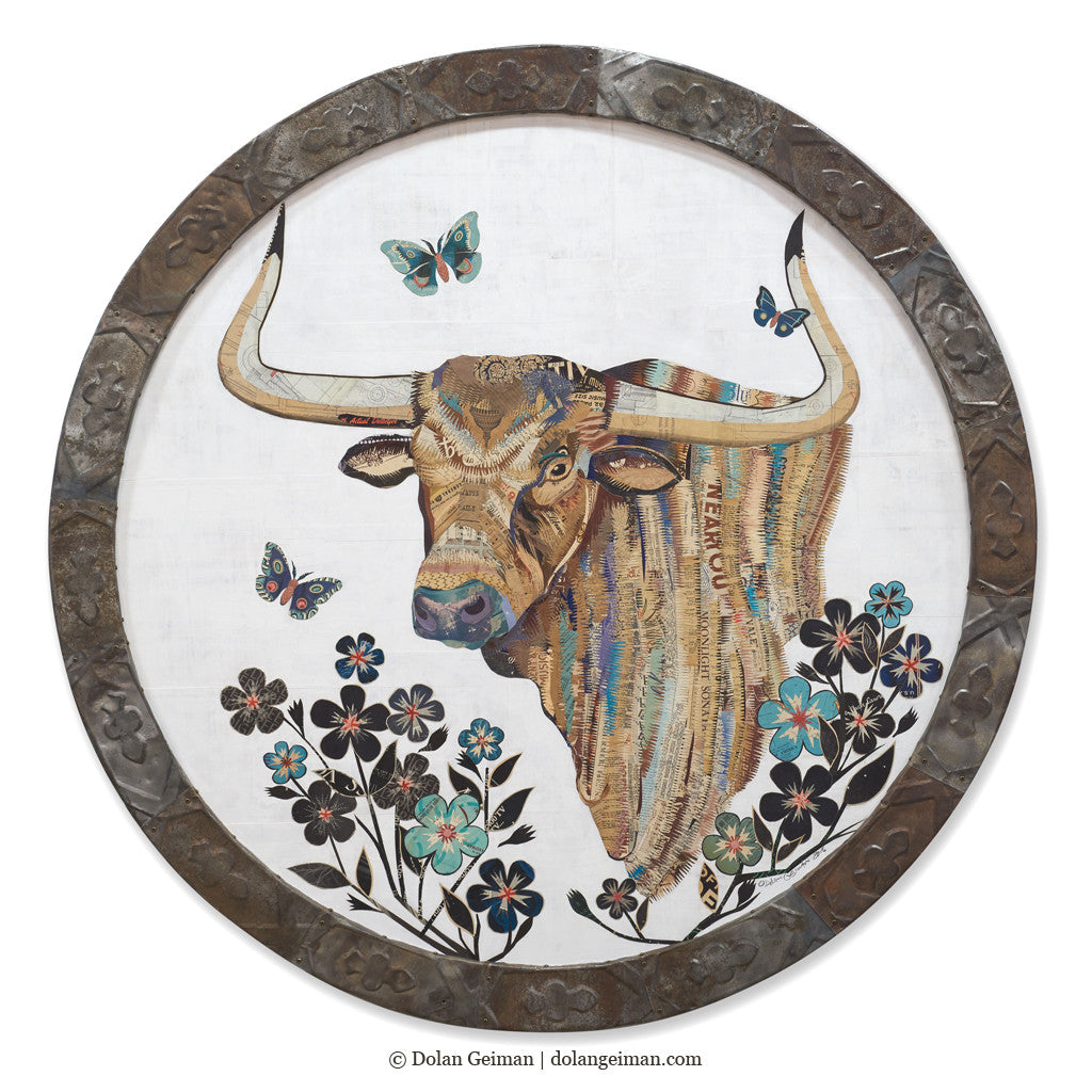 Evening Pasture Repose Circular Longhorn Collage