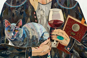 thumbnail for Ex Libris Woman with Wine and Cat Original Paper Collage