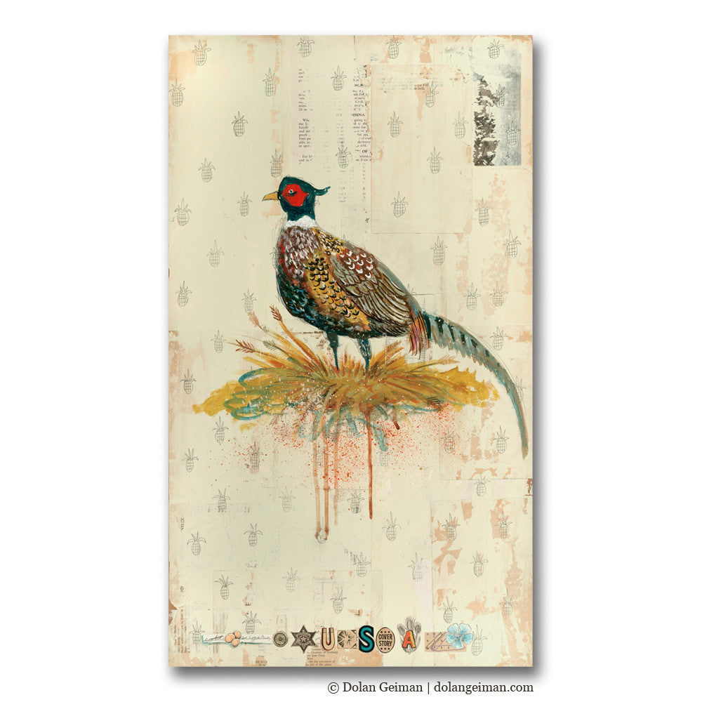 Field Guide Iowa Mixed Media Pheasant Art