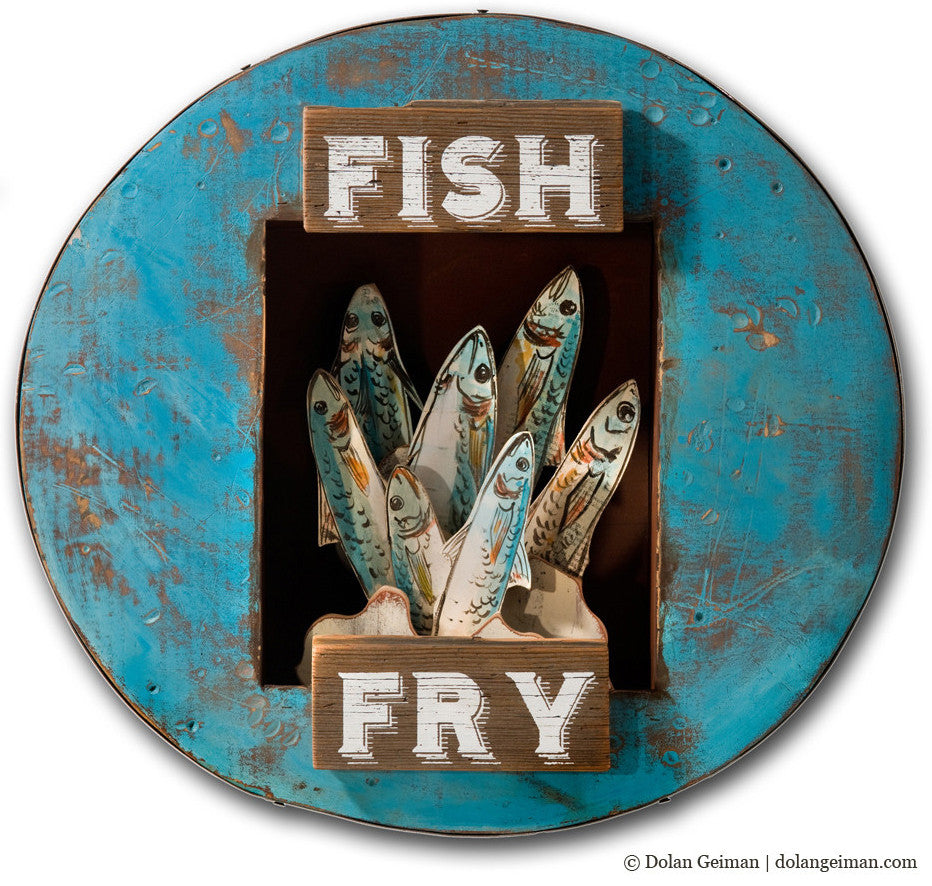 Fish Fry Upcycled Art Assemblage