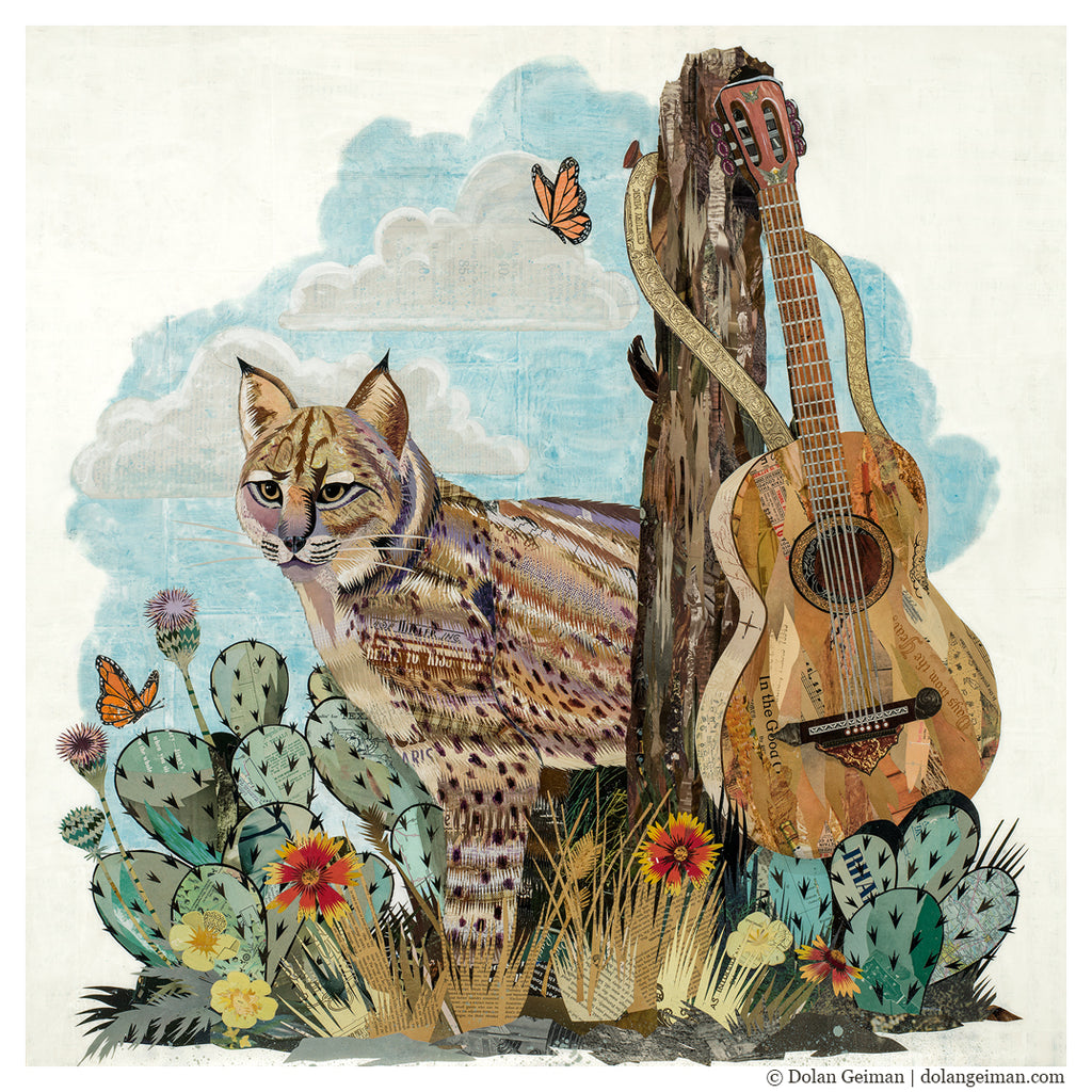 Bobcat with Guitar Original Paper Collage