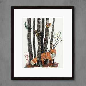 thumbnail for Aspen Nocturne Fox with Black Aspen Tree Art Print