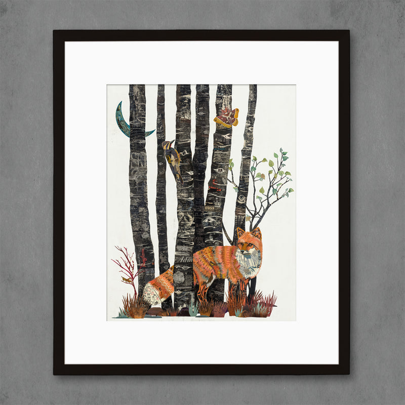 main image for Aspen Nocturne Fox with Black Aspen Tree Art Print