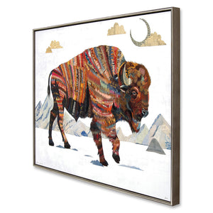 thumbnail for Rest Not Western Herald Bison Art Print with Float Frame