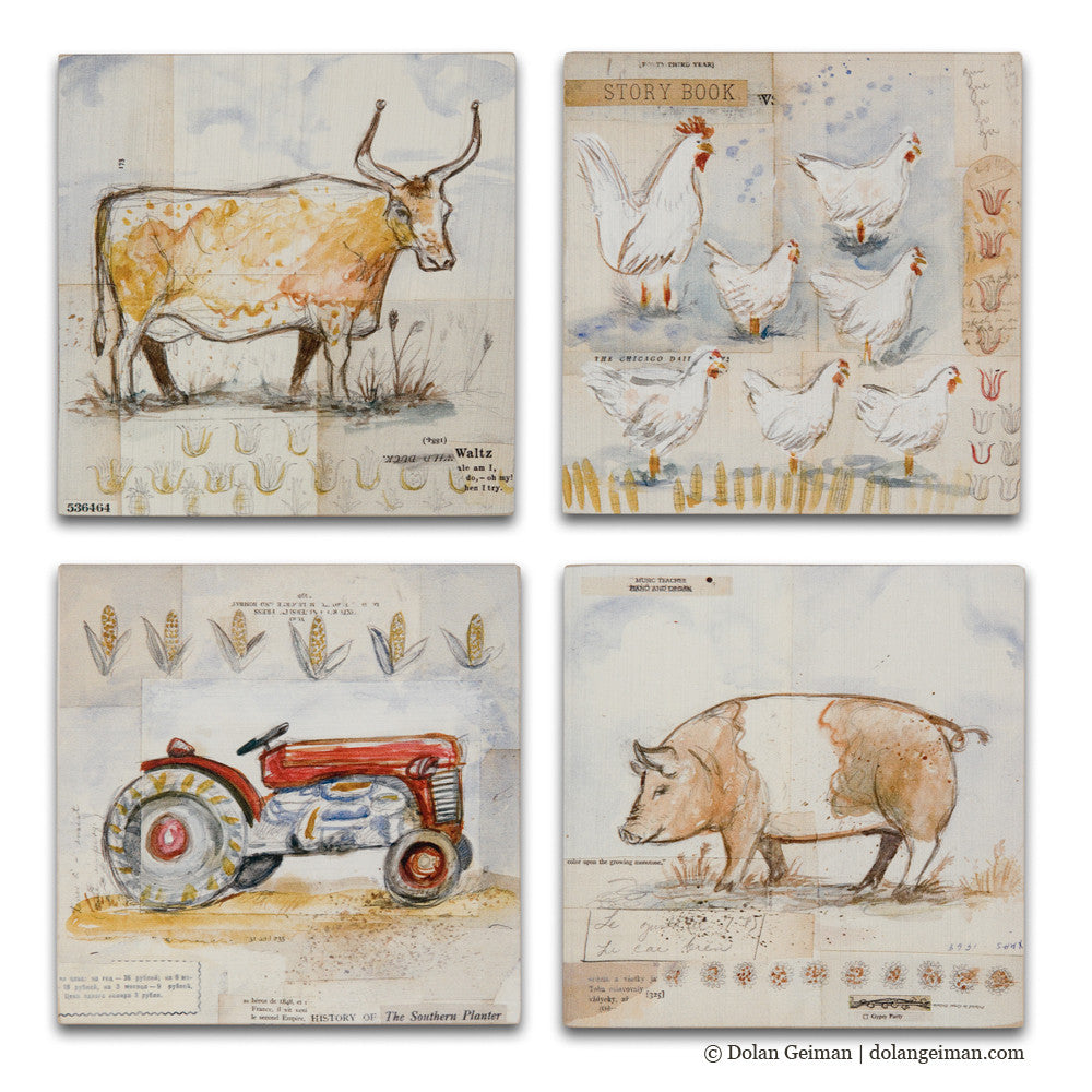 French Countryside Set of Four Mixed Media Art