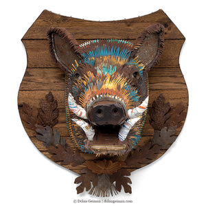 thumbnail for Custom Wild Boar Head Faux Taxidermy Metal Wall Sculpture