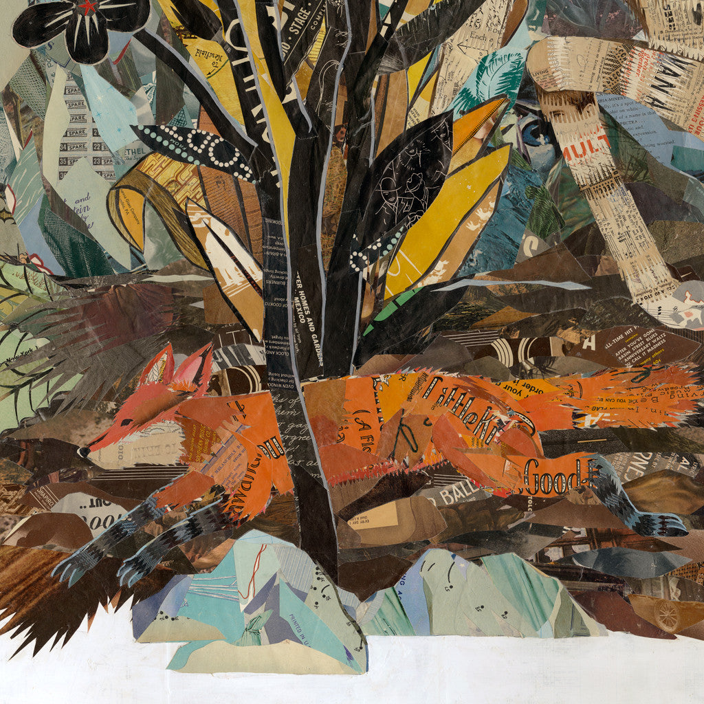 Garden of Eden Leaping Stag with Fox Paper Collage Art | Dolan Geiman