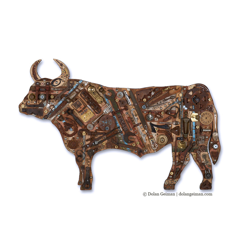 main image for Mixed Media Cow Wall Sculpture