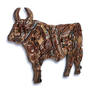 thumbnail for Mixed Media Cow Wall Sculpture