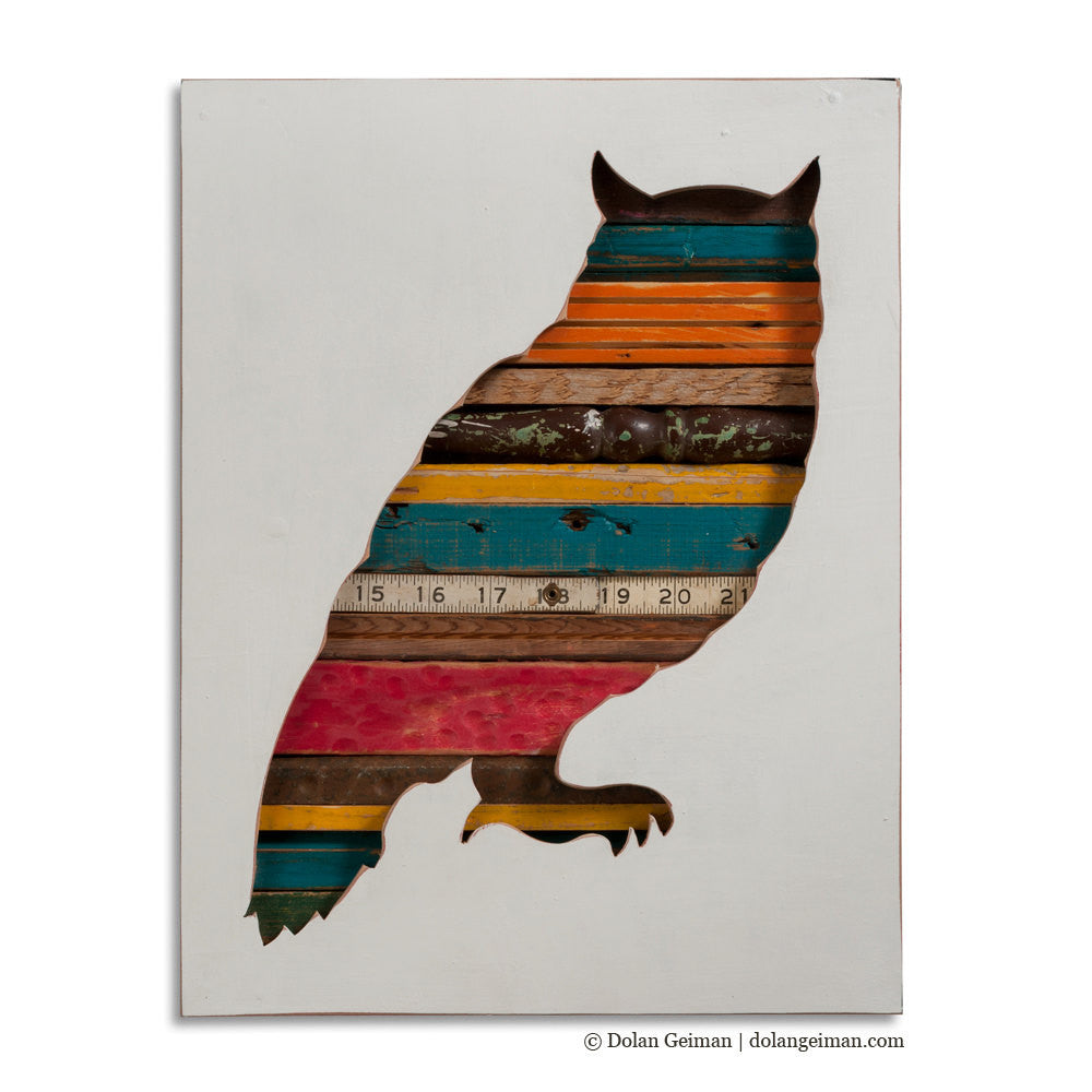 Great Horned Owl Custom Mixed Media Silhouette